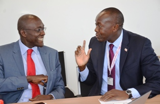 Minister Konneh holding discussion with one of Liberias development partners at the 2016 Spring MeetingMeeting 2016
